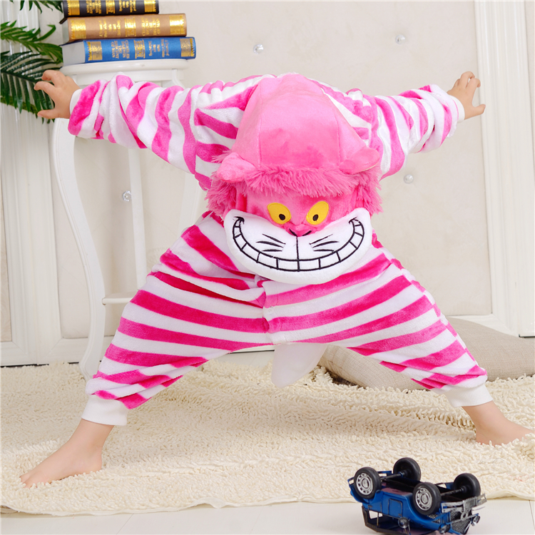 Children Christmas Sleepsuit Cheshire Cat Pajamas Onesie Animal Rompers Womens Jumpsuit Cartoon Cosplay Costumes Pyjama
