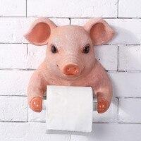 Bathroom Cute Pig Towel Rack Creative European Bathroom Toilet Roll Holder Paper Cassette Holder Resin Pig Pumping Tray Decor