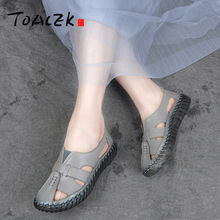 Summer Leather breathable casual shoes, soft bottom anti-skid hole shoes, flat sandals, women's single Shoes цены онлайн