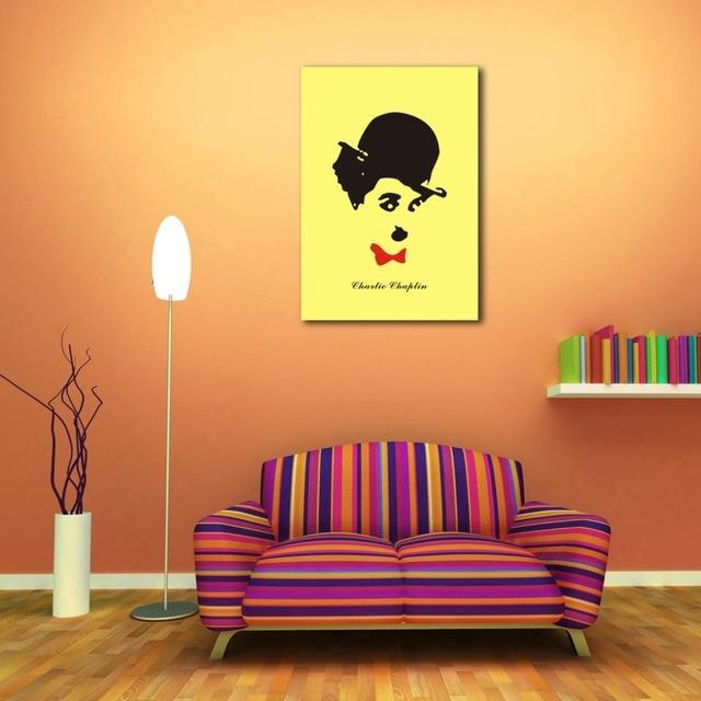 Comediante Charlie Chaplin Figura Pintura Impressa Em Lona Mural Retrato Da  Arte Modern Home Decor Wall Part 34