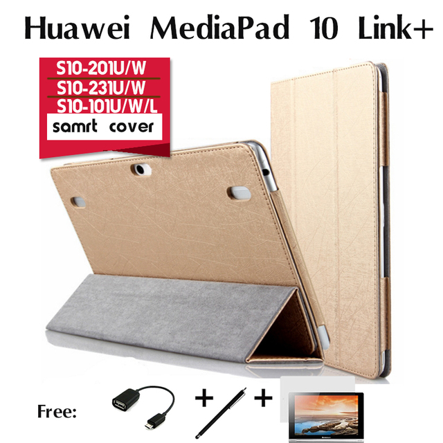 Para huawei mediapad 10 link + ligação fhd casos comprimidos 10.1 polegada s10-201u/w s10-231u/w 233l s10-101u/w/l apoio conjunto de tampa inteligente