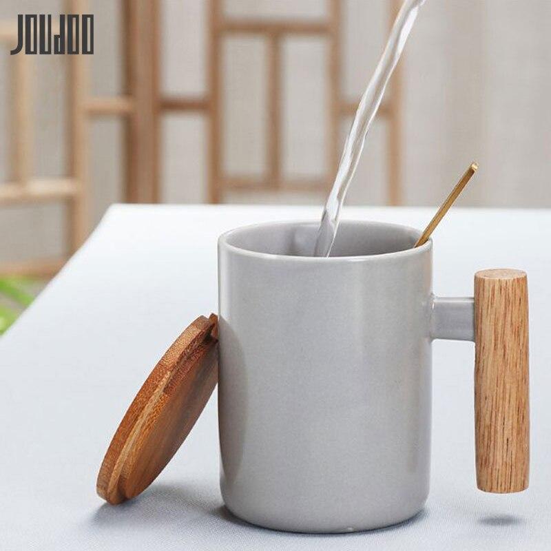 JOUDOO Solid Color Ceramic Mugs with Spoon Lid Wooden Handle Coffee Milk Breakfast Cup 380ML Water Drinkware Creative 35