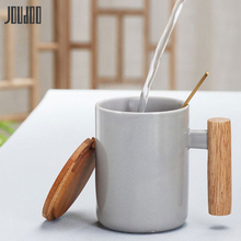JOUDOO Solid Color Ceramic Mugs with Spoon Lid Wooden Handle Coffee Milk Breakfast Cup 380ML Water Drinkware Creative 35