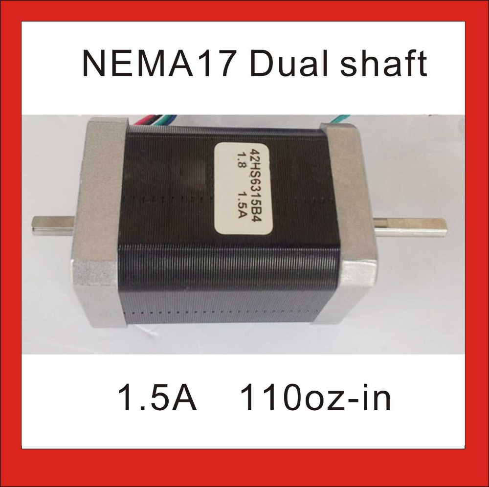 NEMA 17 Dual Shaft Stepper <font><b>110</b></font> oz-in Body Length 63mm CE Rohs NEMA17 <font><b>Motor</b></font> CNC 3D Printer <font><b>Motor</b></font> image