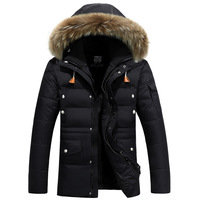 New Trend White Duck Down Jacket Parka Homme Fourrure Capuche 2017 Winter Fashion Fur Hooded Mens Slim Fit Black Parkas Hommes