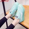 HEVXM 2016 Primavera Nuevas Mujeres Zapatos Planos Con Cordones de Moda Los Zapatos de Lona Casuales de Color Femenino Del Caramelo Zapatos de Las Mujeres envío Gratis