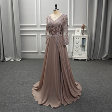 Style Custom Made Chiffon Satin Full Sleeves Evening Dress