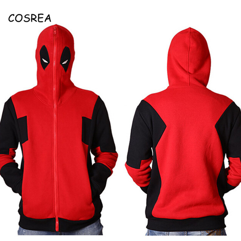 Marvel Comic Deadpool Cropped Hoodies Sweatshirt Outerwear Coat Tops Streetwear Zipper Casual Long Sleeve Full Hooded Superhero