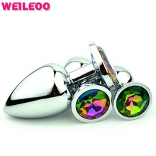 colour jewel high quality metal prostate massage butt plug anal plug adult sex toy for man gay woman