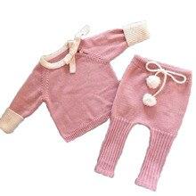 Arc à la main Tricoté Nouveau-Né Bébé Fille Vêtements D'hiver Automne Infantile Vêtements Ensemble Rose Tirant Corde Manteau Pantalon Avec Boule de Coton