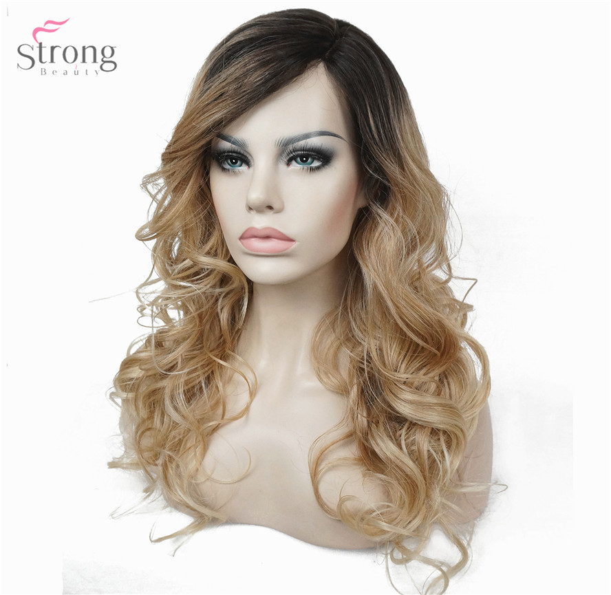 StrongBeauty Lace Front wigs Monofilament Side Part Heat ok Ombre Brown/Blonde Long Curly Hair Kanekalon Synthetic Women' Wig