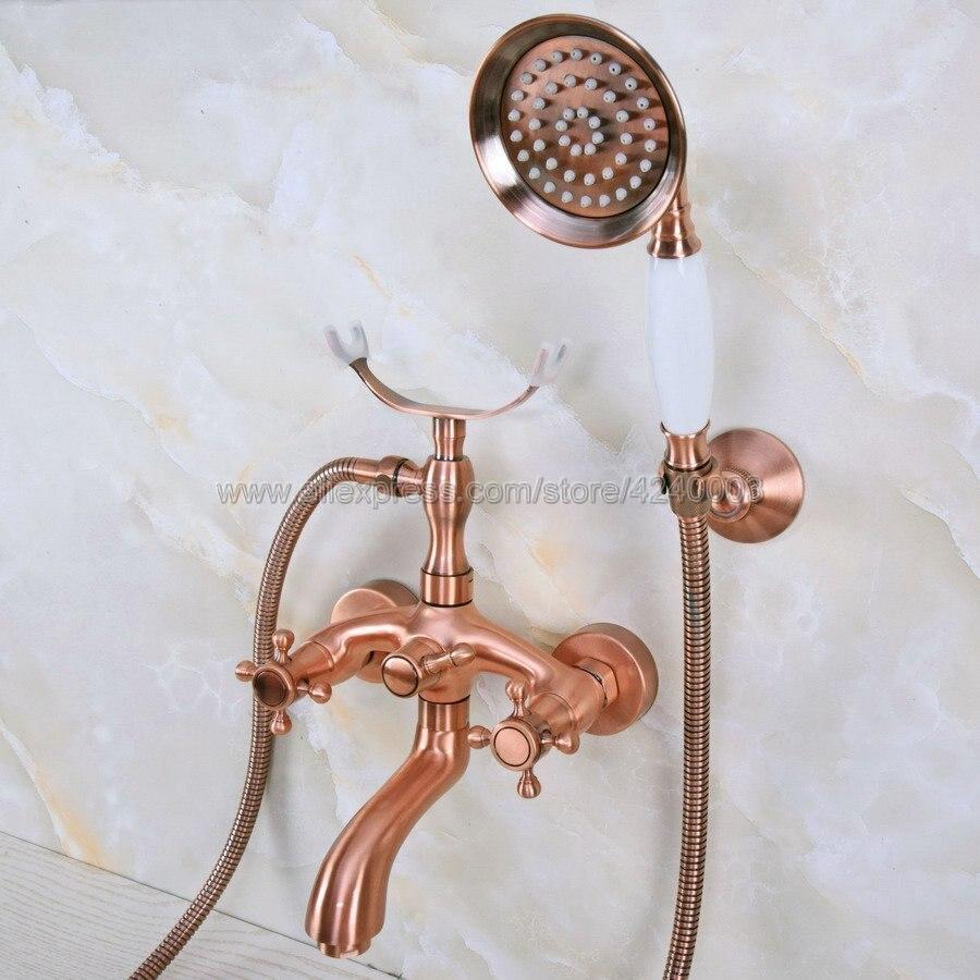 Antique Red Copper Wall Mounted Bathtub Faucet Double Handle antique Brass Mixer Tap Bath & Shower Faucets Kna371 wall mounted stain black bathtub faucet double handle antique brass mixer tap bath