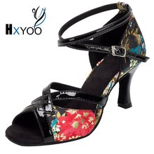 HXYOO 2017 Professional Salsa Dance Shoes Latin Women Ballroom Shoes Ladies Satin Soft Sole Buckle Red Flower With Black WK012