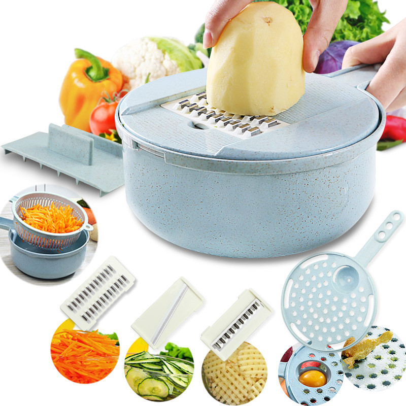 9 in 1 Manual Round Vegetable Slicer Grater Potato Slicer Kitchen Tool Chopper Container Drain Basket Hand Guard Cover Separator|Manual Slicers| |  - title=