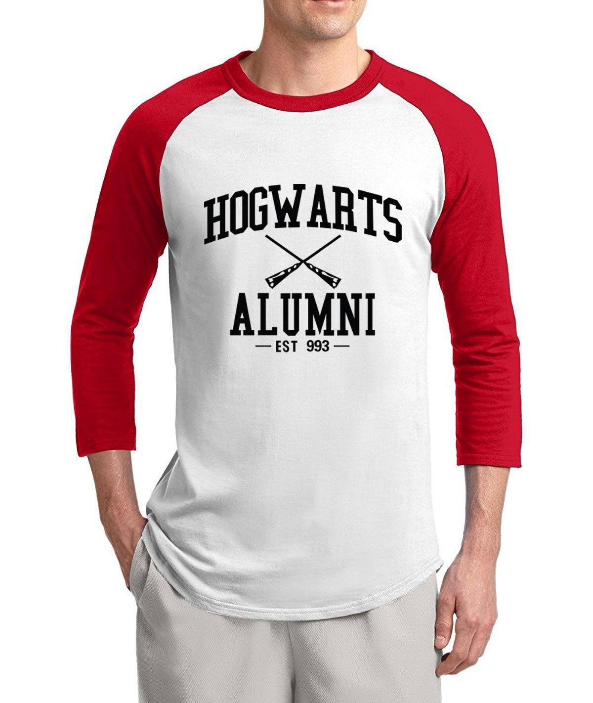 Hogwarts Inspired Magic Alumni 3/4 sleeve t shirts men 2017 summer 100% cotton raglan men t-shirt o-neck top tees for movie fans