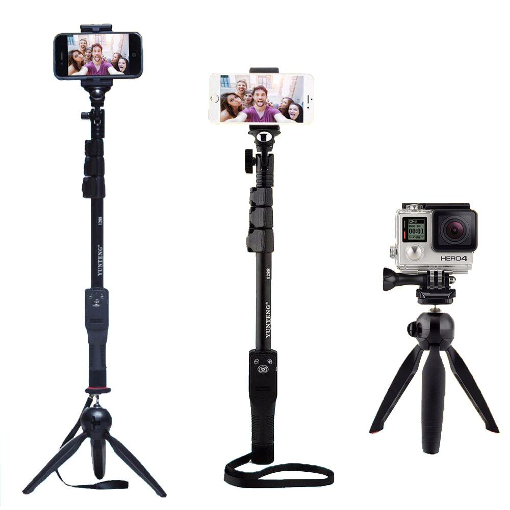 Cámara teléfono Bluetooth extensible Selfie Stick Yunteng 1288 telescópico Monopod Pole o 228 Mini trípode para Iphone 5 6 7 Samsung
