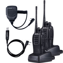 2 PCS Baofeng BF-888S Walkie Talkie 5W Handheld Pofung bf 888s UHF 400-470MHz 16CH Two-way Portable CB Radio +MIC+USB Cable