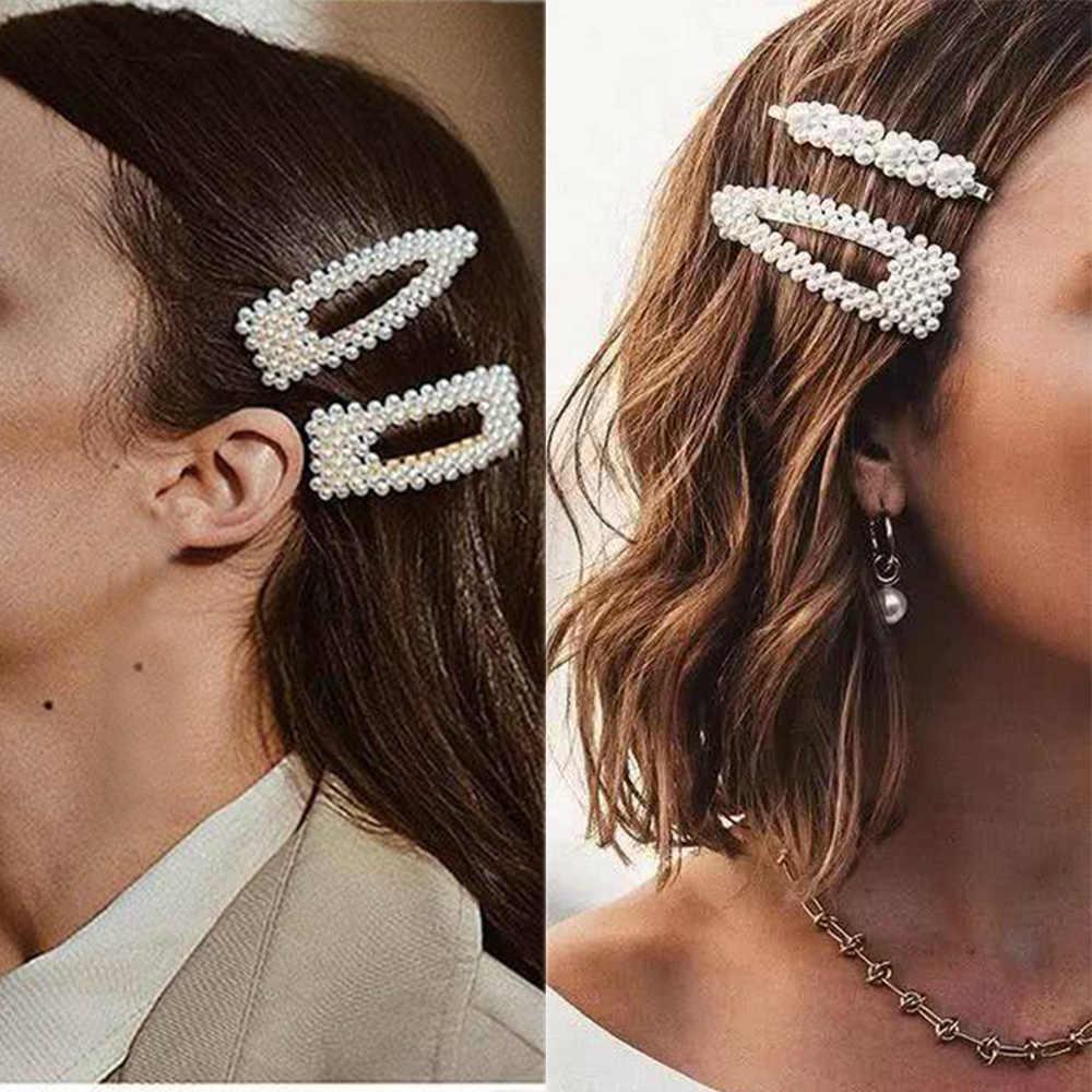 Ins moda 1 conjunto feminino meninas elegantes pérolas grampos de cabelo doce headwear grampos de cabelo barrettes acetato acessórios para o cabelo conjunto hairwear