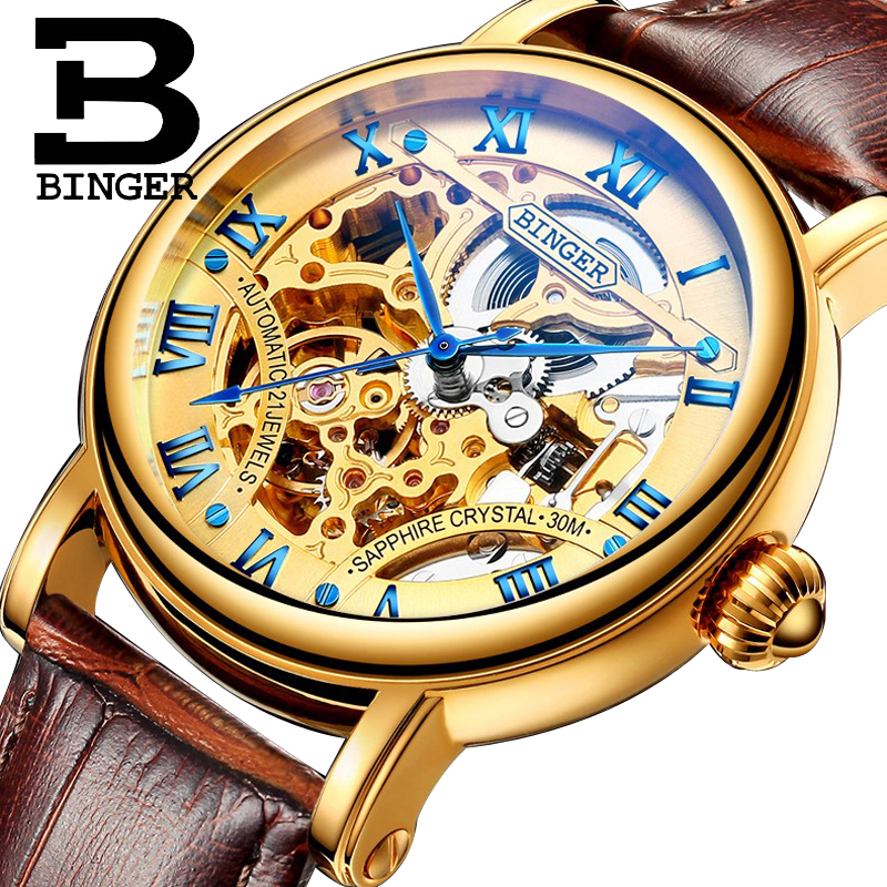 BINGER Golden Case Luxury Casual Design Brown Leather Strap Mens Watches Top Brand Luxury Automatic Mechanical Skeleton WatchBINGER Golden Case Luxury Casual Design Brown Leather Strap Mens Watches Top Brand Luxury Automatic Mechanical Skeleton Watch