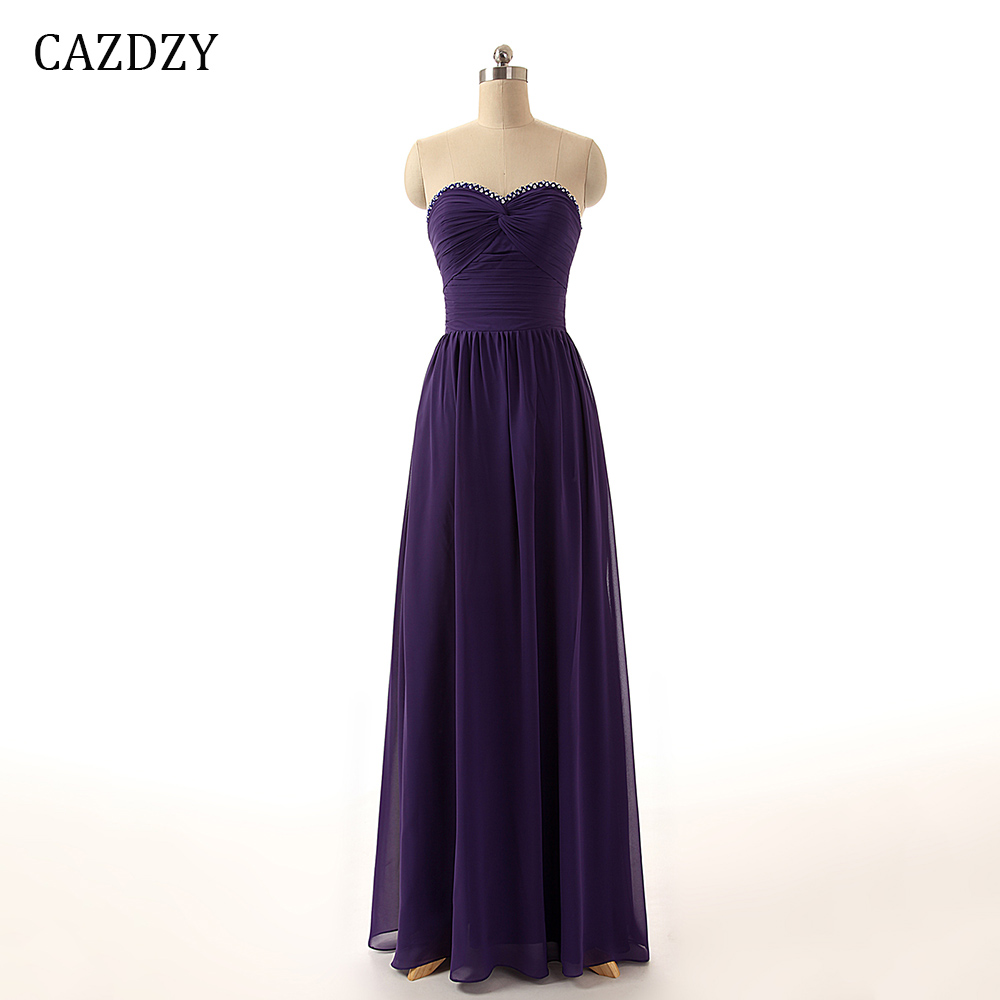 CAZDZY Элегантный бретелек свадебное платье Вечерние Для женщин фиолетовый платье подружки невесты линии этаж Длина с бисерное плиссе 1 111