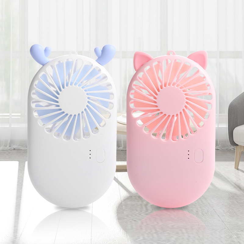 USB Table Desk Personal Fan Handheld Fan Mini Small Portable Personal Rechargeable Desk Desktop Table Cooling USB Fan Quiet with 1200mAh Battery 2 Speeds Cute Design for Home Office Outdoor and Travel