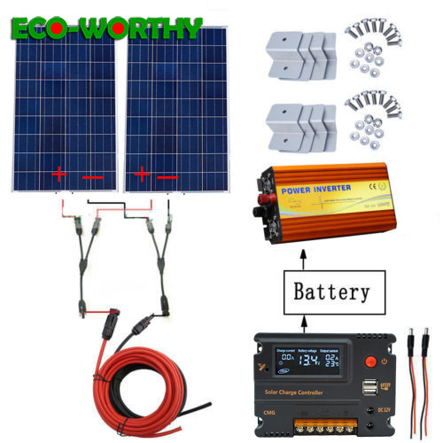 240W solar power Kit: 2pcs 120W Solar Panels& 1KW Inverter 220V& 20A conller for 12V battery charge Off Grid solar power system-in Solar Energy Systems from Consumer Electronics    1