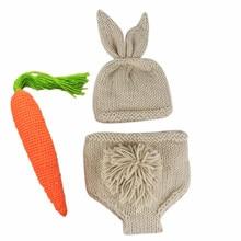 купить Newborn Baby Clothes Girls Boys Crochet Knit Costume Photo Photography Prop Accessories Rabbit Baby Caps Hats Pants 0-6 months дешево