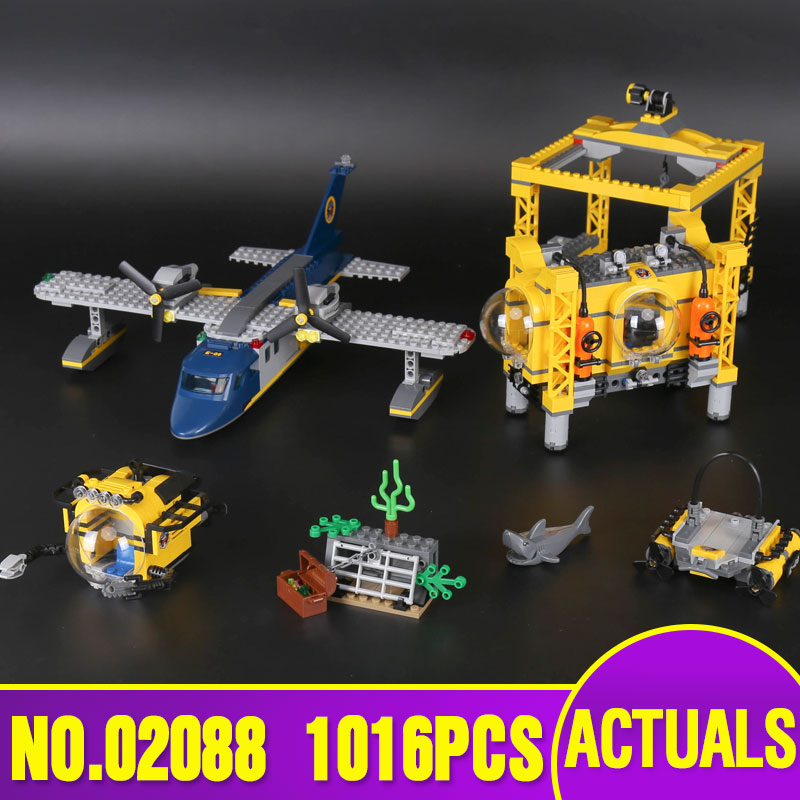 Lepin 02088 Genuine 1016Pcs City Series The Deep Sea Opearation Base Set 60096 Building Blocks Bricks For children New Year Gift lepin 02061 genuine city series the jungle exploration site set 60161 building blocks bricks christmas gift for children 870pcs