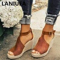 Большие размеры 34-43, пикантные летние женские сандалии, обувь на высоком каблуке, женские римские сандалии на платформе, модельные сандалии ...