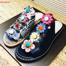 Black Leather-based Flower Embellished Leather-based Slippers Open Toe Slip On Multicolor Floral Studded Sandals Sizzling Promote Summer season Cool Footwear