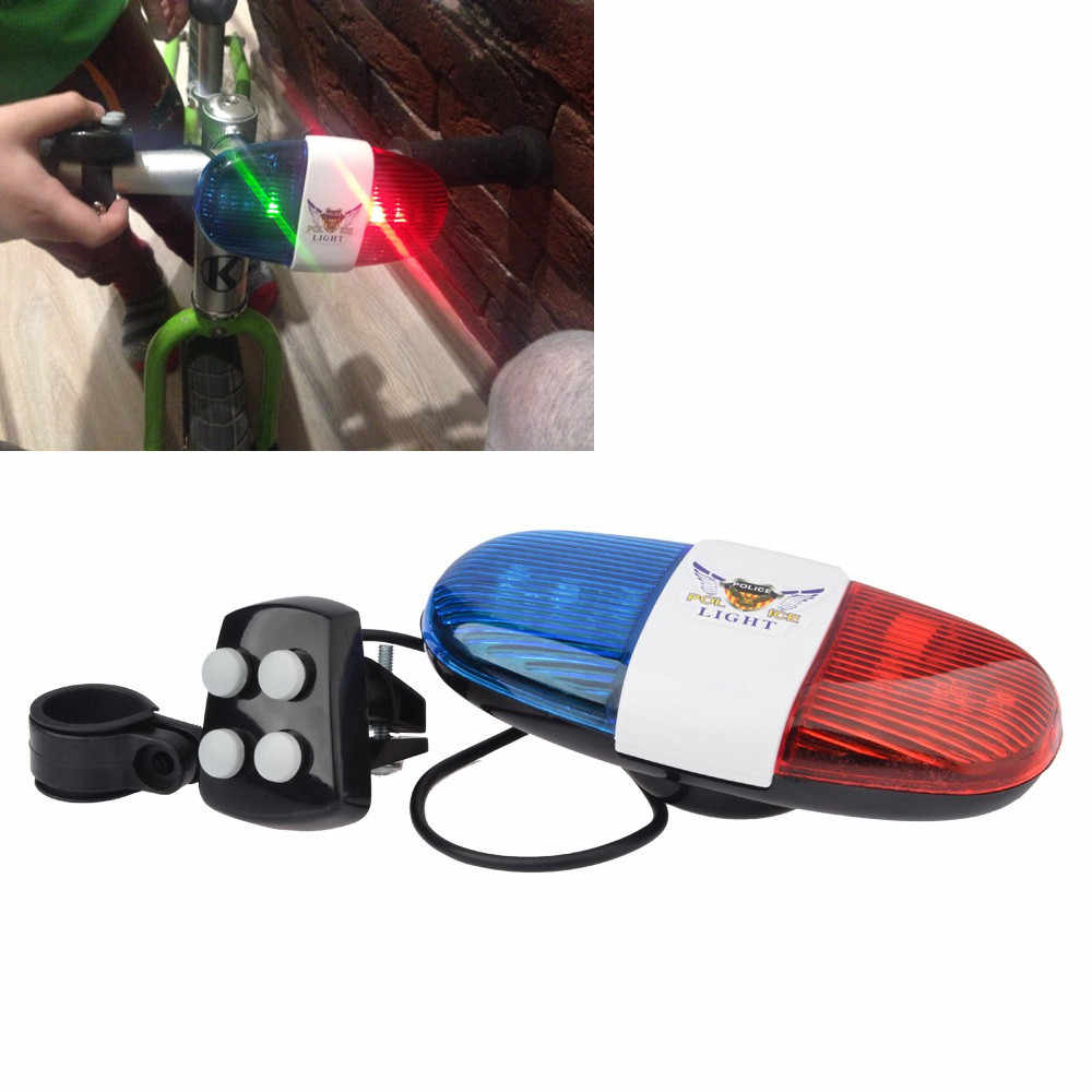 Bicycle Bell 6LED 4 Tone Bicycle Horn Handlebar Clearly Sounds Bike Call LED Cycling Light Electronic Siren Kids Accessories