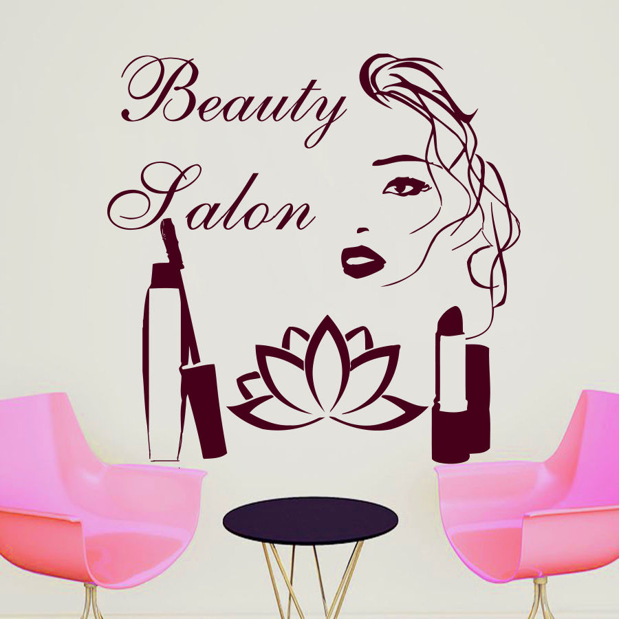 Wall Decal Quote Beauty Salon Make Up Girl Woman Decals Vinyl
