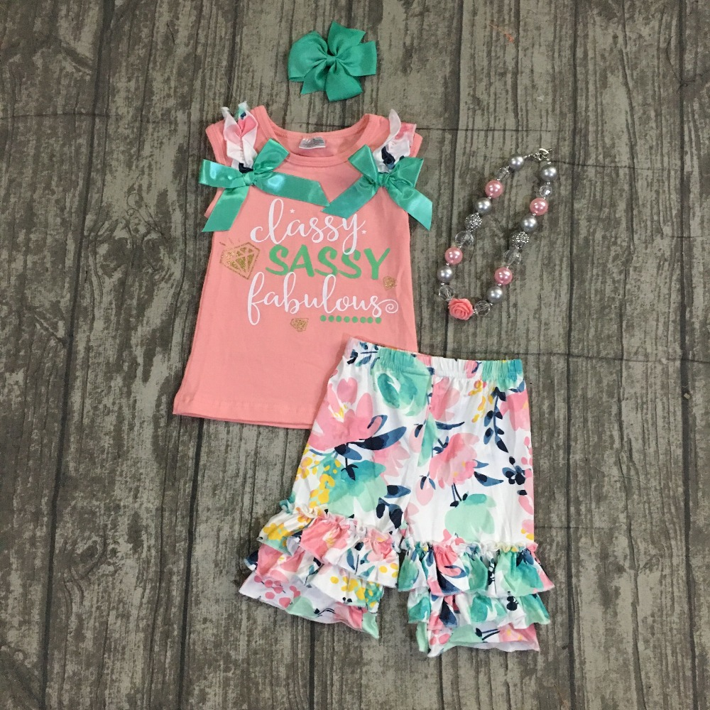 new Summer baby girls outfits capris ruffles cotton coral floral boutique classy sassy fabulous bow mint coral match accessories new girls outfit be a flamingo floral coral mint kids boutique shorts sets ruffles cotton clothing match with accessories