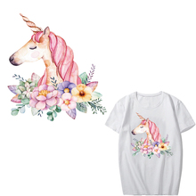 Flower Unicorn Patch Applique Iron on Transfer Patches for Clothing DIY T-shirt Heat Vinyl Badge Stickers Thermal Press