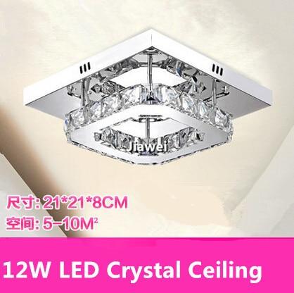 Free Shipping Square Modern Crystal Led Downlight Ac85-265v Cool White Ceiling Led Lights Lustre De Sala For Home