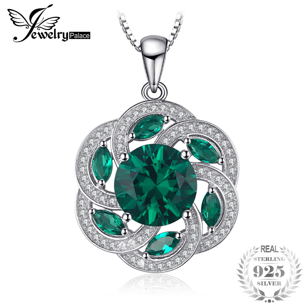 JewelryPalace Vintage Flower 4.5ct Nano Russian Simulated Emerald Pendant 100% 925 Sterling Silver For Woman Not Include A Chain jewelrypalace 100