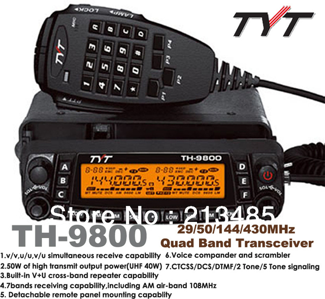 TYT TH-9800 29/50/144/430MHz Quad bands Mobile Transceiver  with 50W Output Power,Scrambler,cross-band Repeater Mobile Radio