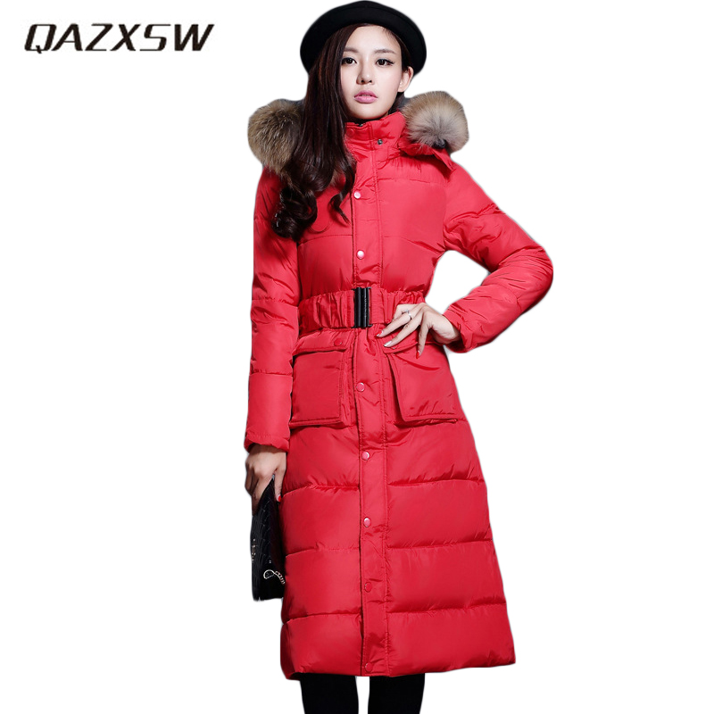 QAZXSW New Women's Winter Cotton Jackets Fur Collar Hooded Parkas For Woman X-Long Jacket Slim Warm Belt Jaqueta Feminina HB042 qazxsw 2017 new winter cotton coat women slim hooded jacket two sides wear long parkas fur collar winter padded abrigos hb339