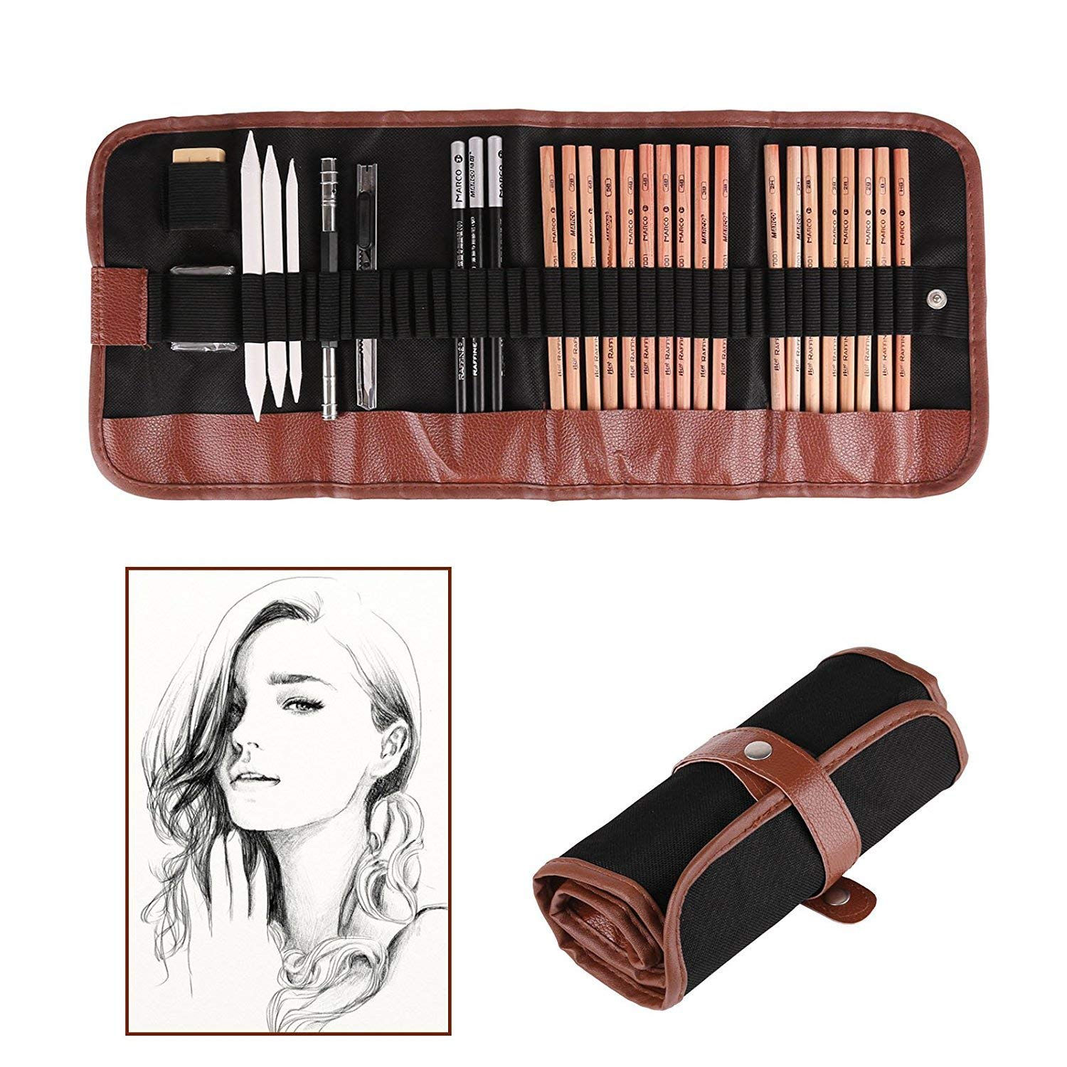 Sketching pencil set pen charcoal sketch set roll up canvas carry pouch drawing eraser craft knife pencil extender set