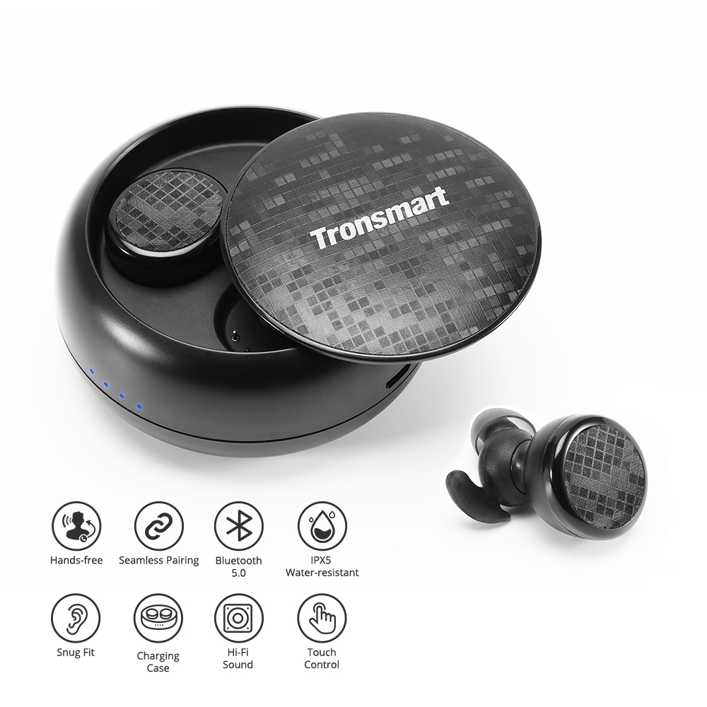 Tronsmart Spunky Buds Wireless Headphones Bluetooth 5.0 True Wireless Stereo Earbuds IPX5 Headphones with Mic for Phones1-2