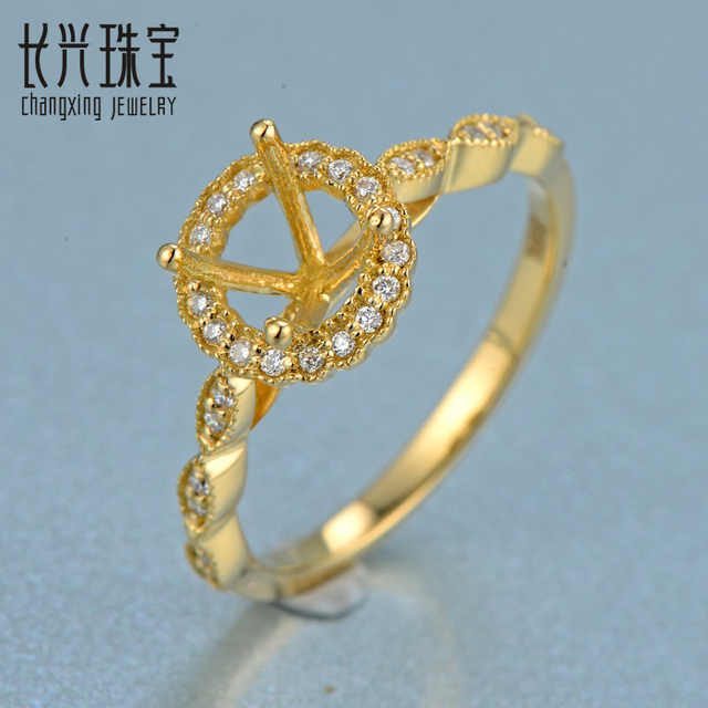 14K Yellow Gold 5.2mm Round Cut  Semi Mount Engagement Diamonds Ring Prong Setting