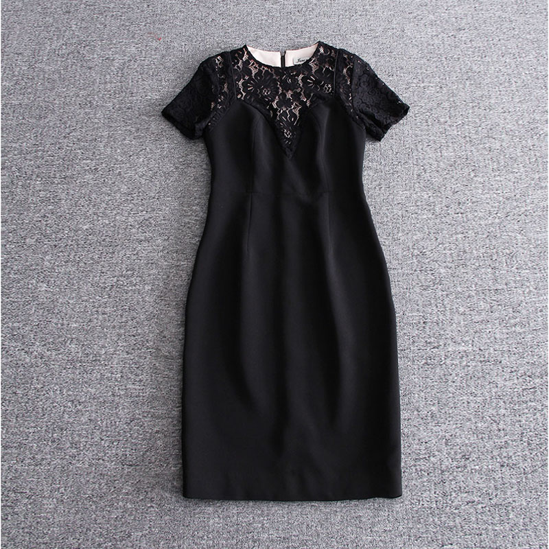 Здесь продается  2017 Europe Style Newest Spring&Summer Best Quality Fashion Solid Water Soluble Flowers Short-Sleeve O-Neck Silk Dress Women  Одежда и аксессуары