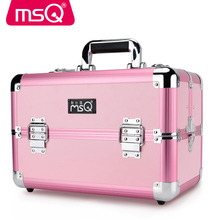 MSQ Cosmetic Case Full Professional Makeup Case Aluminum Alloy Brushed Plastic Case 2 Color Optional Size msq