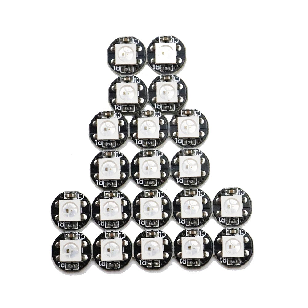 5V LED Chip SMD WS2812B WS2812 9.6 * 9.6mm Dia Heatsink 10-30pcs 4-Pin untuk 5050 RGB WS2812 IC Built-in Dearm Warna jalur HL