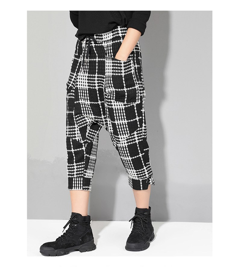2019 Summer Women Casual Black And White Plaid Loose Trousers Lace Up Ankle Length   Pants   Mid Elastic Waist Harem   Pants