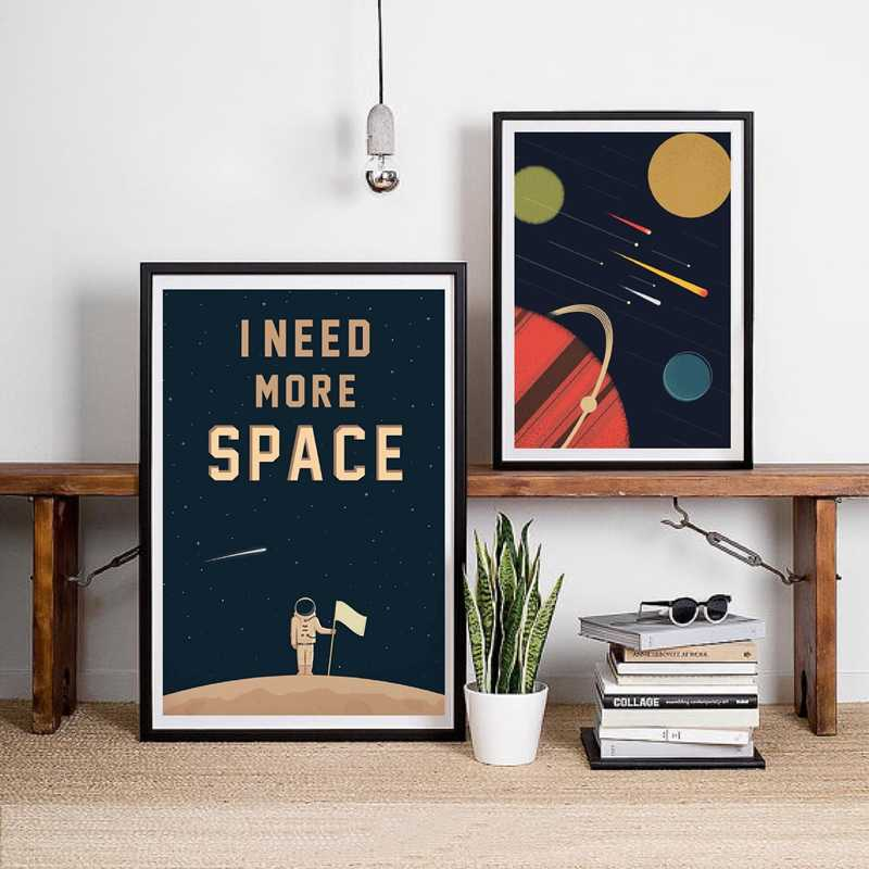 Space Poster Wall Art Canvas Prints , I Need More Space Science Art Canvas Painting Outer Space Planets Print Cosmos Poster