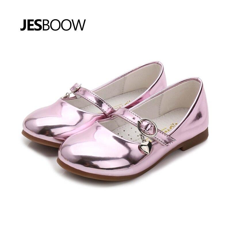 Children's shoes girls heart-shaped pendant shoes school dancing shoes Princess patent shoes pink все цены