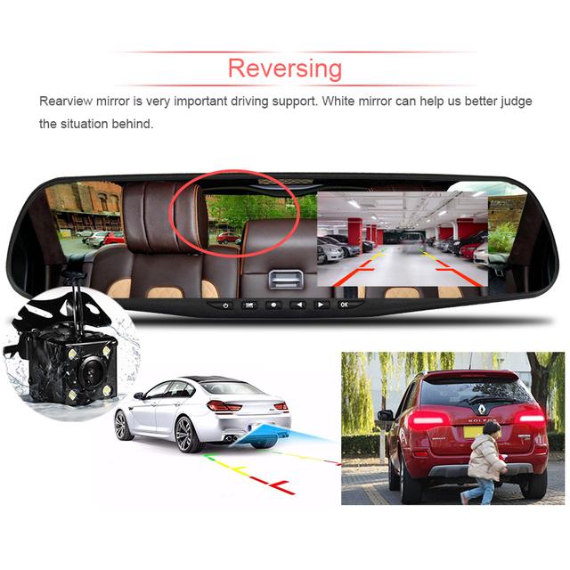 Dual Lens Car Camera Auto DVR Rearview Mirror Dash Cam Cars DVRs Recorder Video Registrator FHD 1080P Night Vision Camcorder