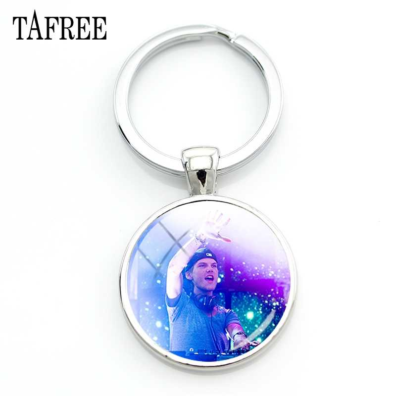 TAFREE Famous Avicii Key Chain DJ Music Producer Round Keychains For Bag Car Key Fashion New man women Fans Jewelry AC62