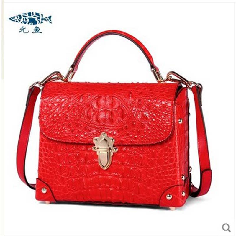 yuanyu New Alligator Skin Female handbag Thai crocodile skin oblique cross bag small square women bag Genuine handbag yuanyu the new crocodile skin female bag imported crocodile leather single shoulder bag genuine handbag alligator women handbag